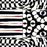 Optical Art Prints - Red White Black Number 1 Print by Carol Leigh