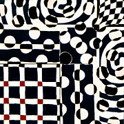 Op Art Prints - Red White Black Number 2 Print by Carol Leigh