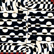 Optical Art Prints - Red White Black Number 3 Print by Carol Leigh