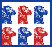 Labrador Retrievers Posters - Red White Blue Labrador Retriever Dogs Poster by Jennie Marie Schell