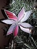 Copper Foil Glass Art - Red White Stained Glass Poinsettia by Liz Shepard