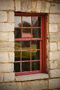 Cabin Window Posters - Red Window Poster by Paul Bartoszek
