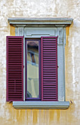 Weathered Shutters Framed Prints - Red Window Shutter  Framed Print by David Letts