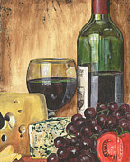 Purple Grapes Paintings - Red Wine and Cheese by Debbie DeWitt