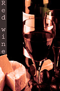 Winemaking Posters - Red wine and glass Poster by Tommy Hammarsten