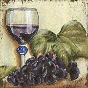 Wine Glass Posters - Red Wine And Grape Leaf Poster by Debbie DeWitt