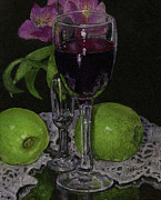 Wine Glass Pastels - Red Wine and Green Apples by Flo Hayes