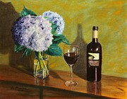 Cabernet Sauvignon Posters - Red Wine and Hydrangea Poster by Alan Mager