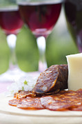 Grape Leaves Prints - Red wine and sausage with cheese Print by Mythja  Photography