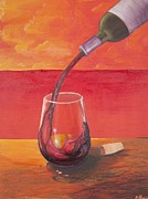 Wine Pouring Posters - Red Wine at Sunset Poster by Andrew Harris