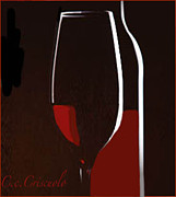 Glass Bottle Mixed Media Posters - Red Wine Poster by Catherine