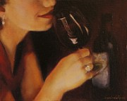 Bar Scene Paintings - Red Wine by Desiree  Rose