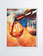 Wine-bottle Paintings - Red Wine for two by Richelle Siska