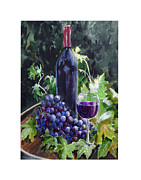 Wine Barrel Paintings - Red Wine Fruit of the Vine by Gregory Peters