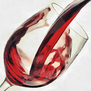 Pouring Wine Digital Art Prints - Red wine  Print by Georgi Dimitrov