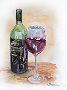 Red Wine Painting Originals - Red wine by Jana Goode