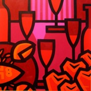 Wine Canvas Paintings - Red Wine Lobster and Apples by John  Nolan
