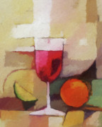Wine Canvas Painting Prints - Red Wine Print by Lutz Baar