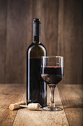 Grape Vine Photo Originals - Red Wine On Wooden Background Still Life Image by Daniel Barbalata