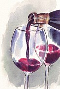 Wine Pour Painting Framed Prints - Red Wine Pour Framed Print by Johanna Pabst