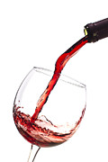 Glass Photo Originals - Red Wine Pouring into wineglass splash by Dustin K Ryan