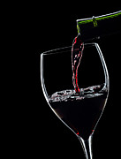 Wine Pouring Prints - Red Wine Pouring Into Wineglass Splash Silhouette Print by Alex Sukonkin