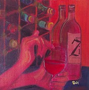 Wine Glass Mixed Media Posters - Red Wine Room Poster by Debi Pople