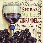 Blue Grapes Painting Prints - Red Wine Text Print by Debbie DeWitt