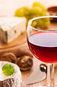Blue Cheese Posters - Red Wine With Cheese Poster by Christopher and Amanda Elwell