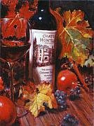 Grapes Painting Posters - Red Wine With Red Pomergranates Poster by Takayuki Harada