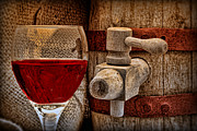 Burlap Prints - Red Wine with Tapped Keg Print by Tom Mc Nemar