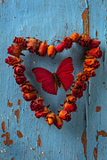 Feelings Posters - Red wing butterfly in heart Poster by Garry Gay