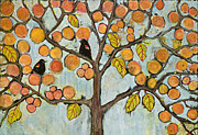 Fantasy Tree Art Mixed Media Prints - Red Winged Black Birds in a Tree Print by Blenda Studio
