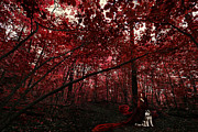 Red Leaves Photo Originals - Red Witch and The Guardian by Henny Gorin