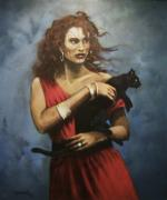 Black Cats Prints - Red Witch Print by Tom Shropshire