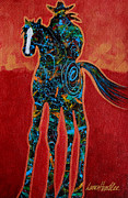 Cowgirls Paintings - Red With Rope by Lance Headlee