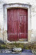 Medieval Entrance Prints - Red Wood Door of the Medieval Village of Pombal Print by David Letts