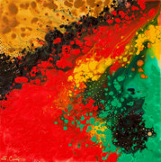 Green Prints Posters - Red Yellow Green Black Abstract Poster by Sharon Cummings