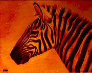 Zebra Paintings - Red Zebra Rising by Scott Dokey
