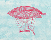 Basket Drawings Prints - Red Zeppelin - Retro Airship Print by World Art Prints And Designs