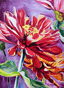Suzanne Willis Metal Prints - Red Zinna Metal Print by Suzanne Willis