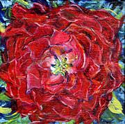 Regina Valluzzi - red zinnia miniature painting