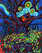 Fantasy Tree Art Paintings - Redbird Sings Song of Love by Genevieve Esson