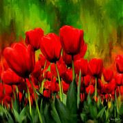 Tulips Digital Art Posters - Reddened By Passion Poster by Lourry Legarde
