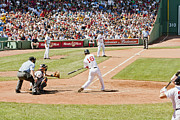 Red Sox Metal Prints - Reddick hits one Metal Print by Dennis Coates