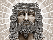 Jesus Metal Prints - Redeemer - Modern Jesus Iconography - copyrighted Metal Print by Christopher Beikmann