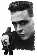 Johnny Drawings Posters - Redemption Jonny Cash Poster by Iconic Images Art Gallery David Pucciarelli