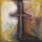 Crucifix Paintings - Redemption  by Steven J Lehman