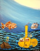 Steampunk Drawings - Redfish Bluefish and a Yellow Submarine by Bill Hubbard