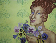 Redhead Holding Pansies Print by Claudia Cox